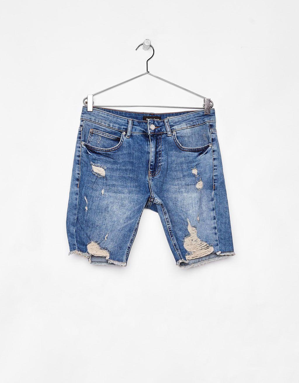 Bermuda Denim Skinny Comfort Con Rotos Pantalones De Hombre Moda Moda Hombre Verano Moda Hombre