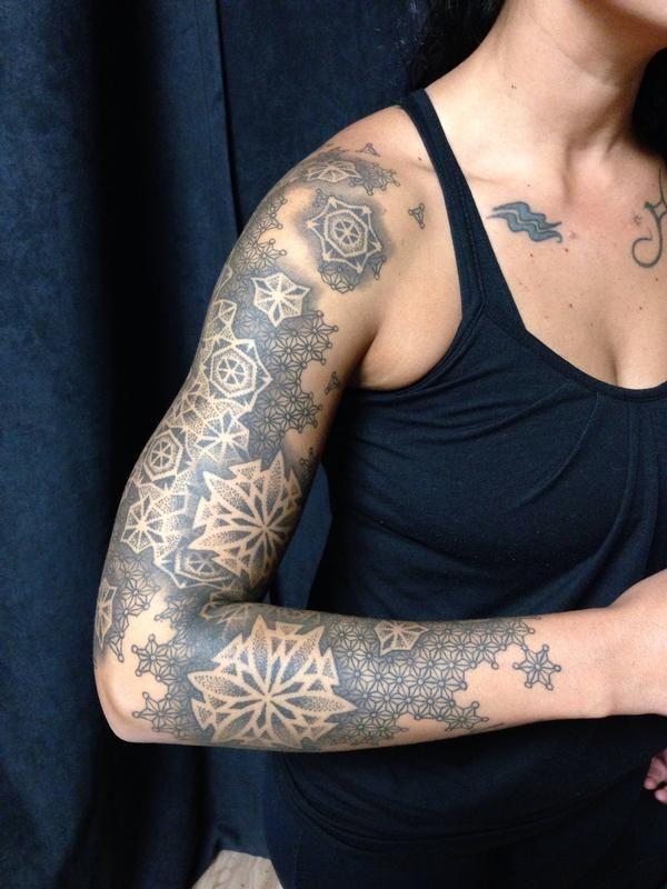 Negative Space Mandala With Tessellation Background Sleeve Tattoos For Women Tattoos Tattoos For Women