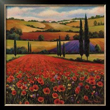 Fields of Poppies II Print by T. C. Chiu at Art.com