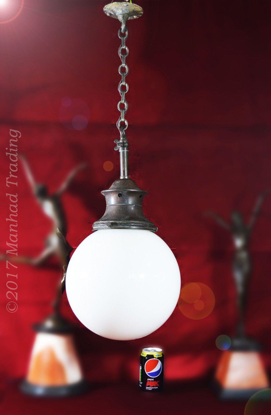 Superb 1930s large art deco School House Opaline Milk Glass Globe ...