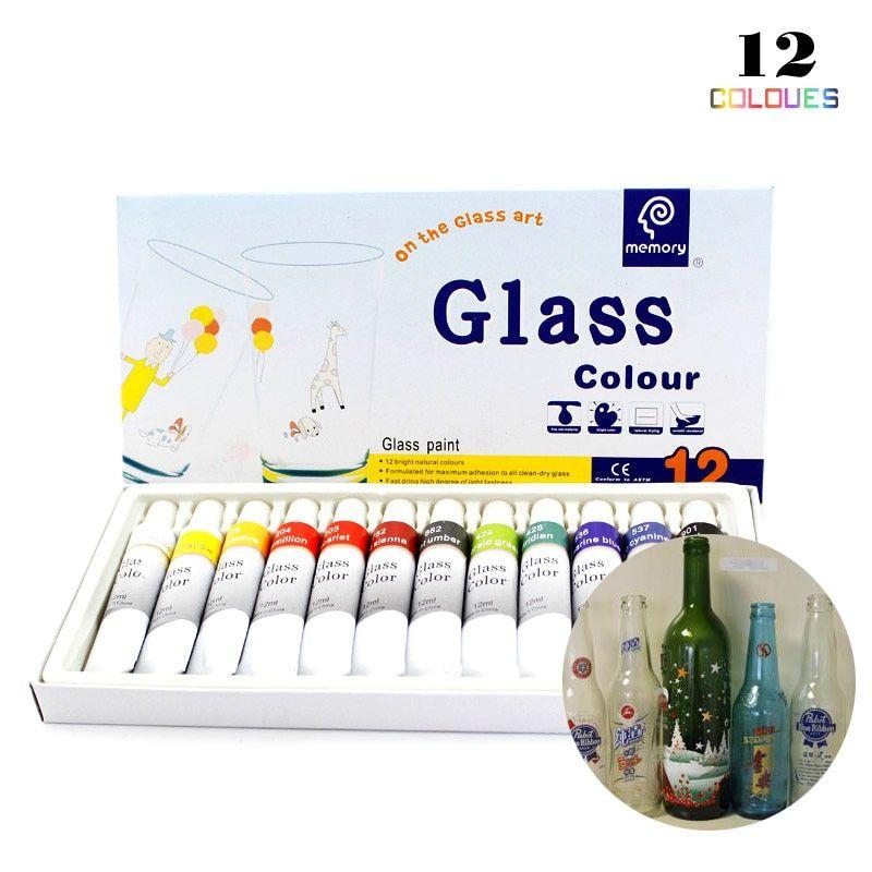 12 Colors 12ml Tube Acrylic Paint Set Color Nail Glass Art
