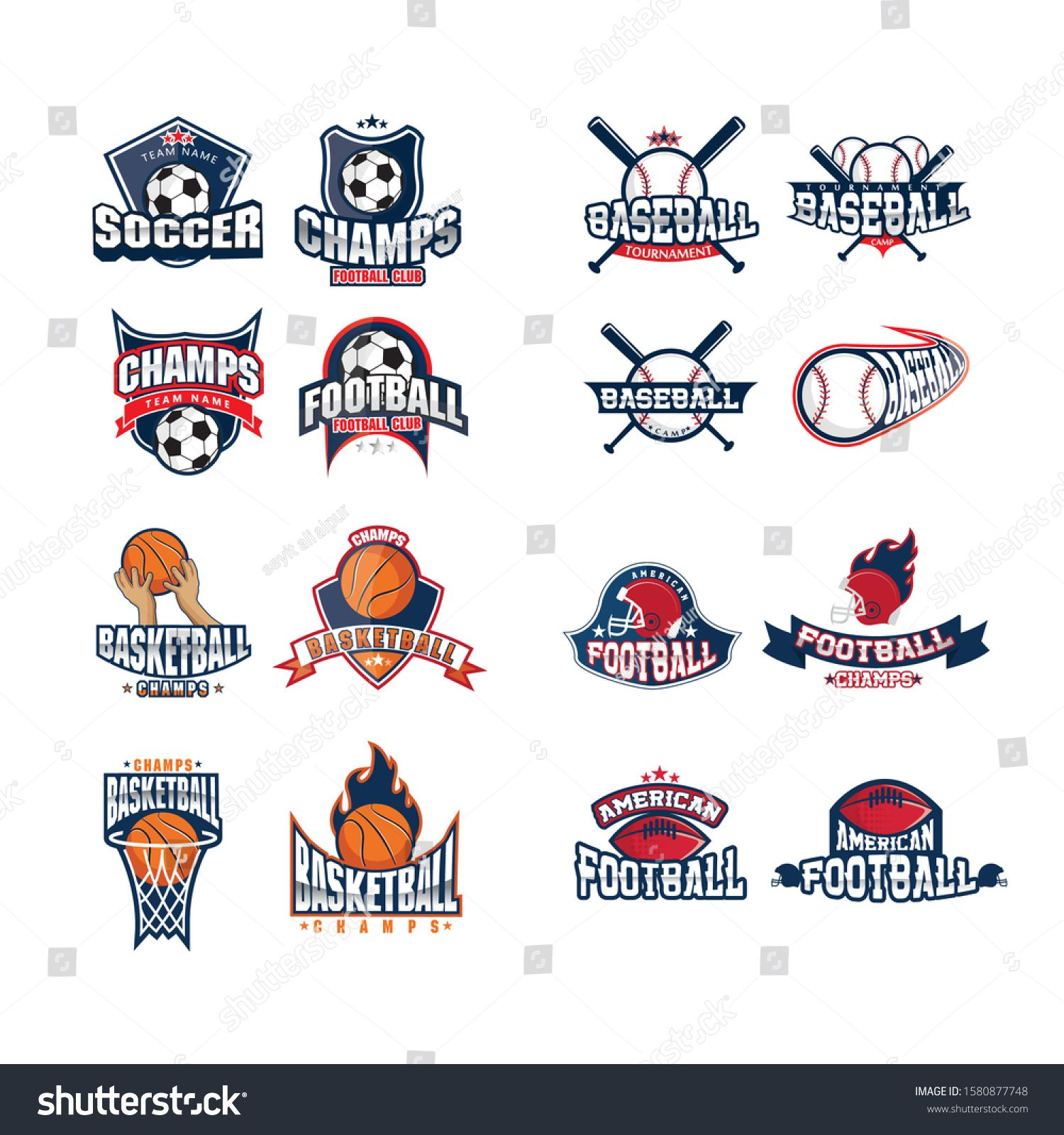 Mega Set Of Colorful Sports Logos Tennis Soccer American Football Volleyball Bowling Rugby Billiards Vector Abstr American Football Sports Logo Football