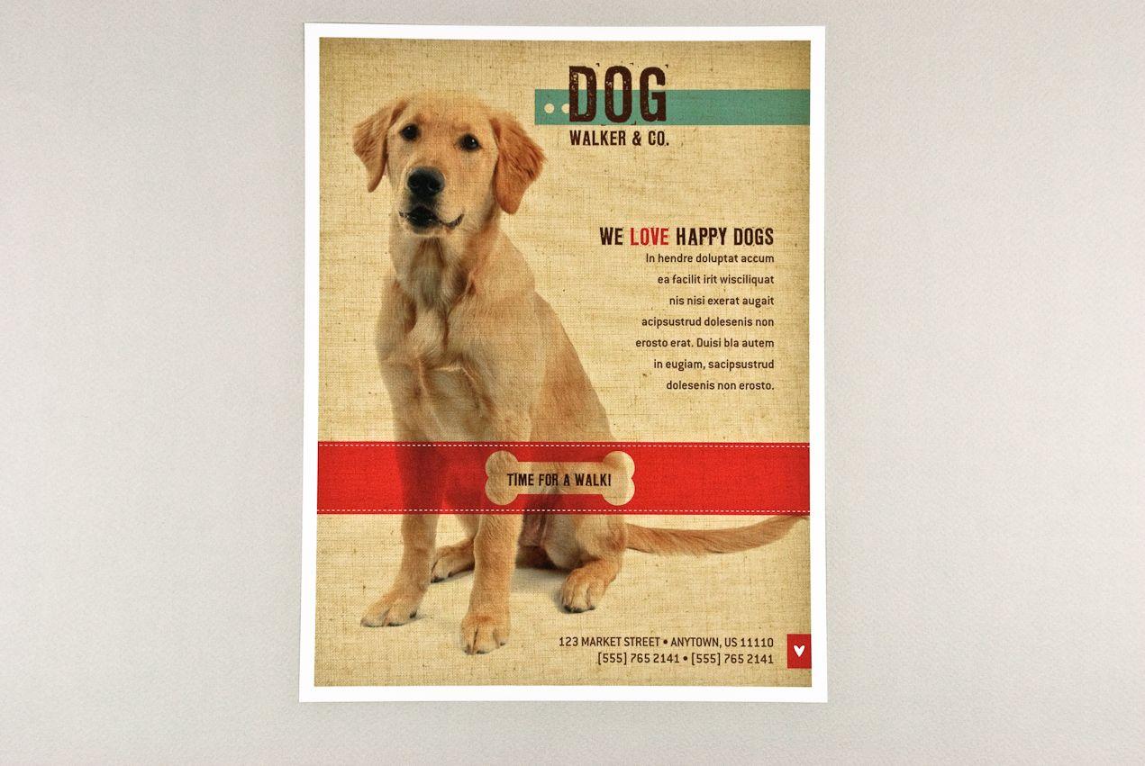 Friendly dog walking flyer flyer design templates