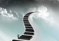 cielo carta da parati, strada, pianoforte, chiavi, farfalla, scala