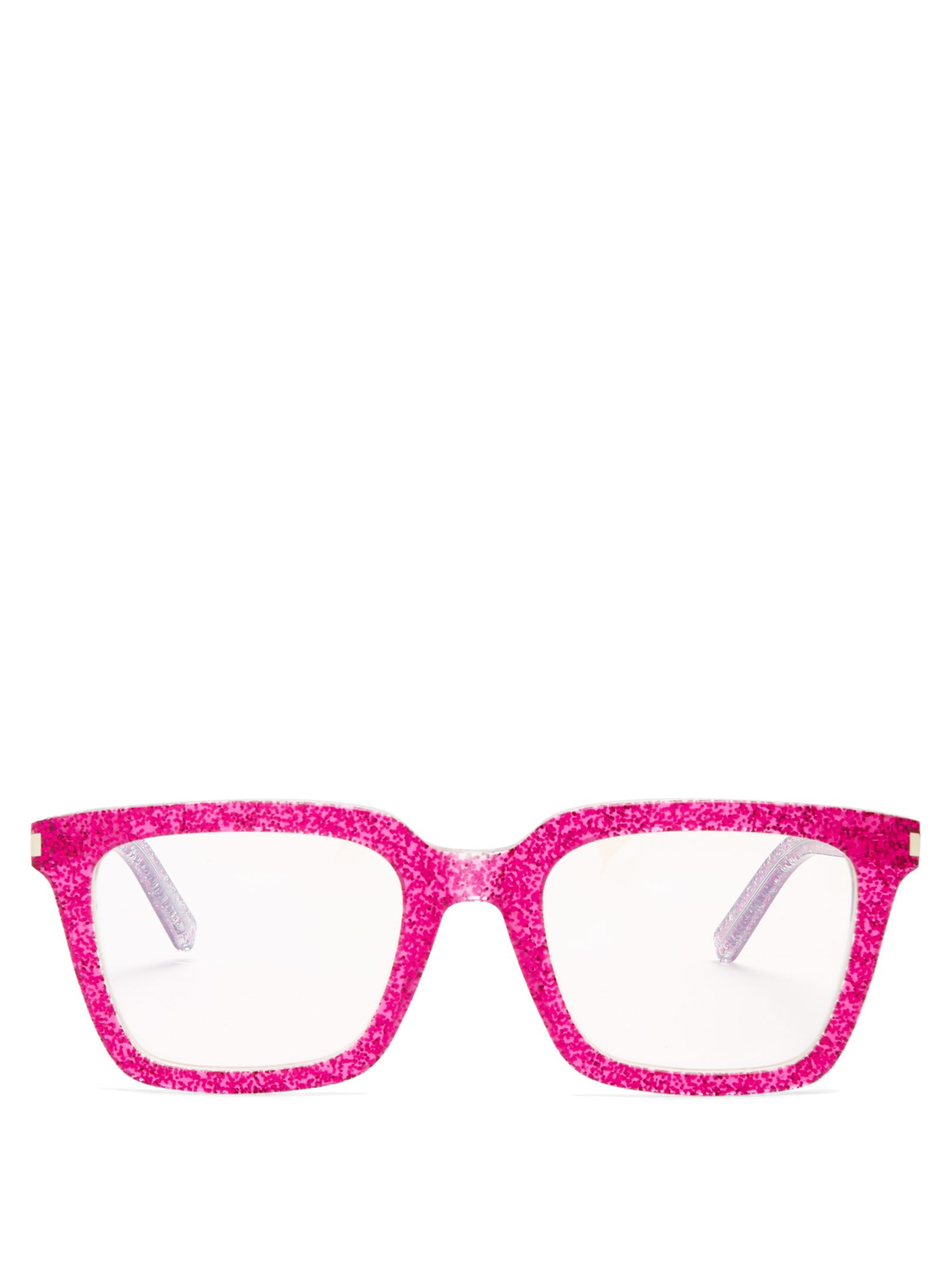 Rectangle-frame glitter-acetate glasses