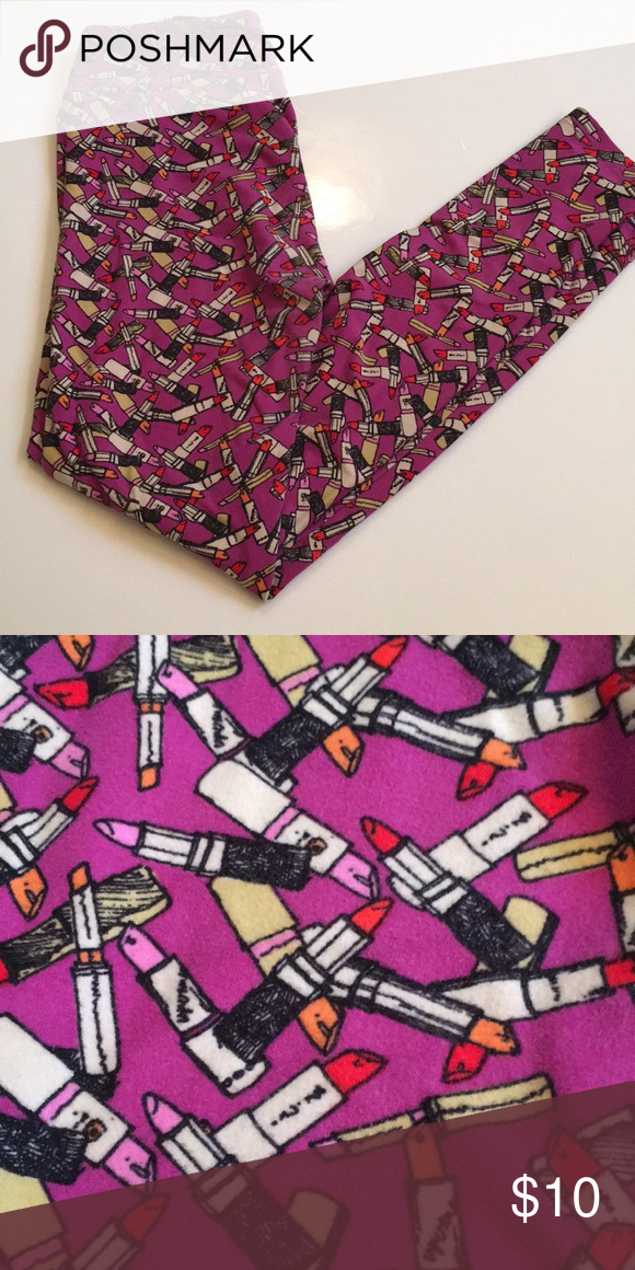 bba3e3414a3a9 Lularoe Os lipstick leggings Purple, black, white, red ,yellow and pink lipstick  leggings OS LuLaRoe Pants Leggings