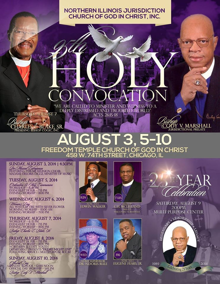 Northern Illinois Jurisdiction COGIC 95th Holy Convocation: August 3