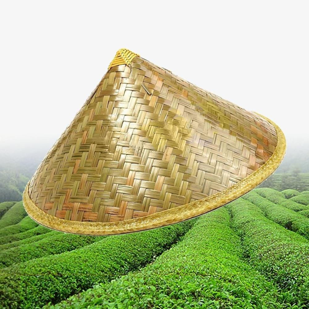 Chinese Style Bamboo Rattan Hats Retro Handmade Weave Straw Hat Tourism Rain Cap Dance Props Cone Fishing Sunshade Fisherman Rain Cap Fisherman S Hat Straw Hat