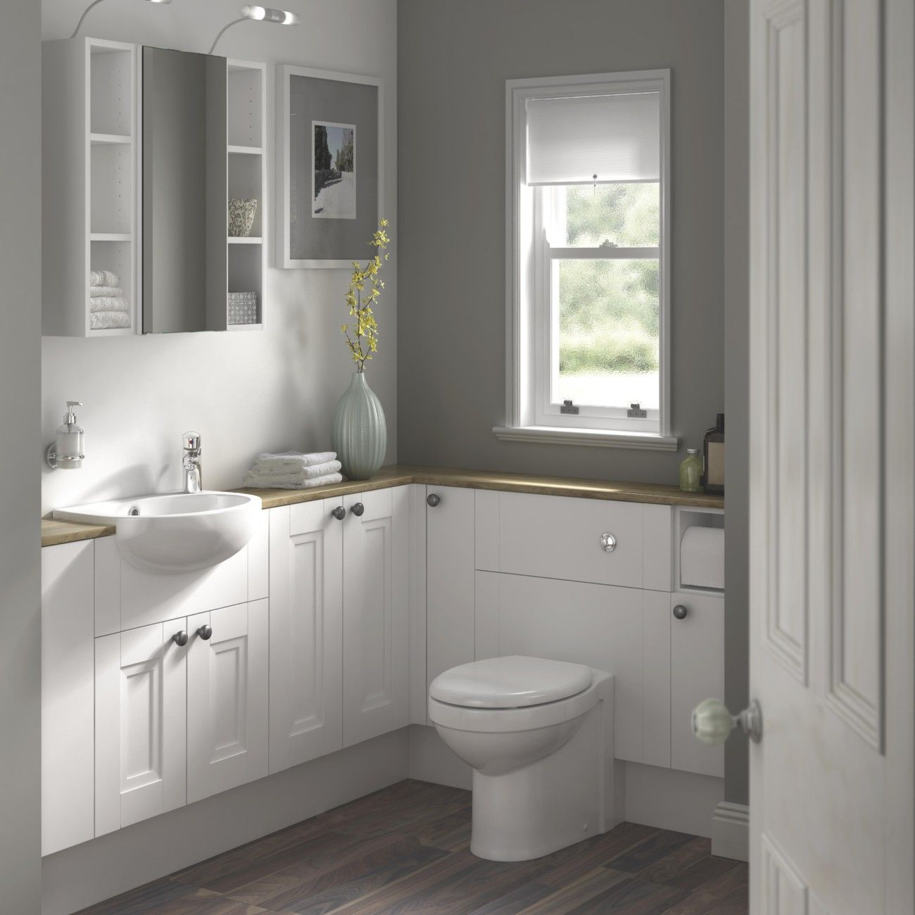 Powder Room Contemporary Cantilevered Sink Decorative Ideas With ...