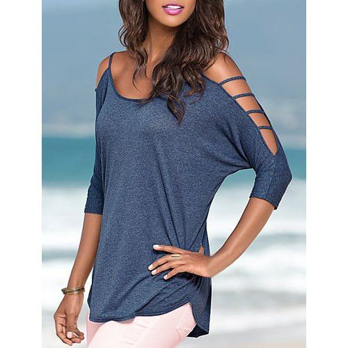 Stylish Scoop Neck Cut Out 3 4 Sleeve Pure Color T Shirt For Women