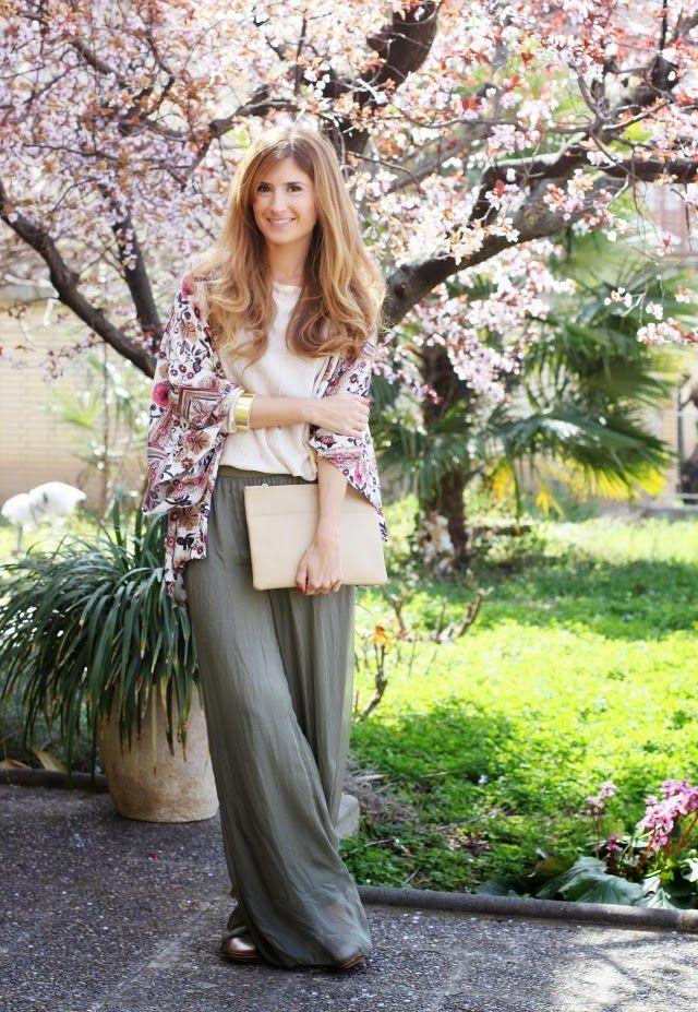 Flores Kimono Palazzo Y De Pantalones qP7SIwRxR