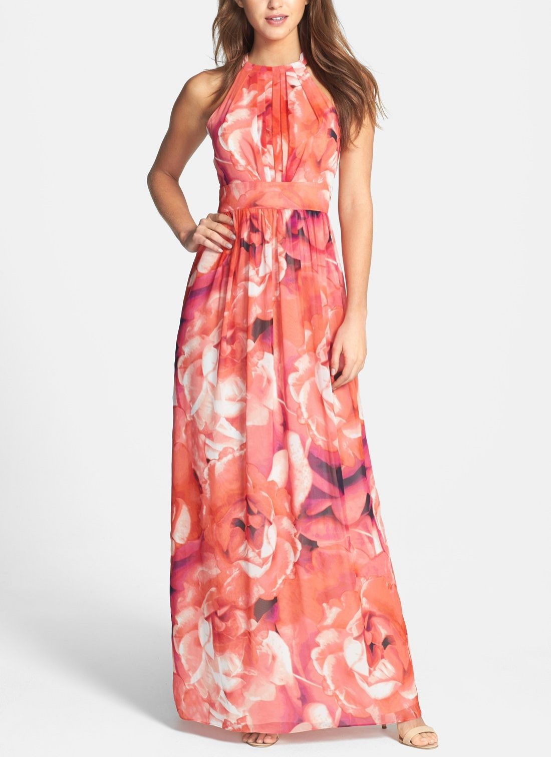 This pink floral print chiffon maxi dress is perfect for spring ...