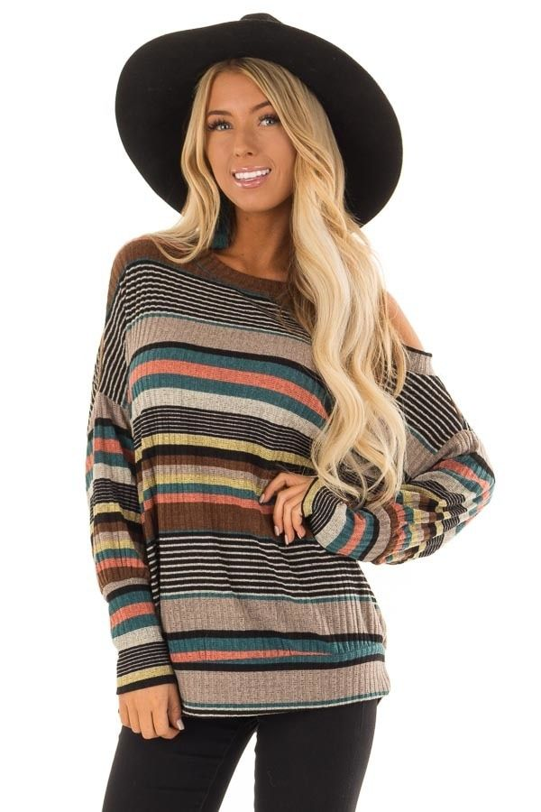 5aeacef71dc550 Multi Striped Top with One Cold Shoulder and Long Sleeves | Sweaters/Cardigans/Vests  | Long sleeve, Striped knit, Sleeves