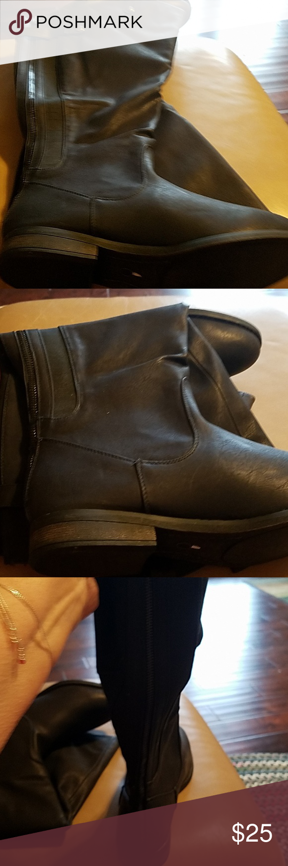 1ca4fbe9ea03 Black Knee High Boots Black boots. Zips up back. Has snaps in back to  adjust. Wide Calf. Lane Bryant Shoes Over the Knee Boots