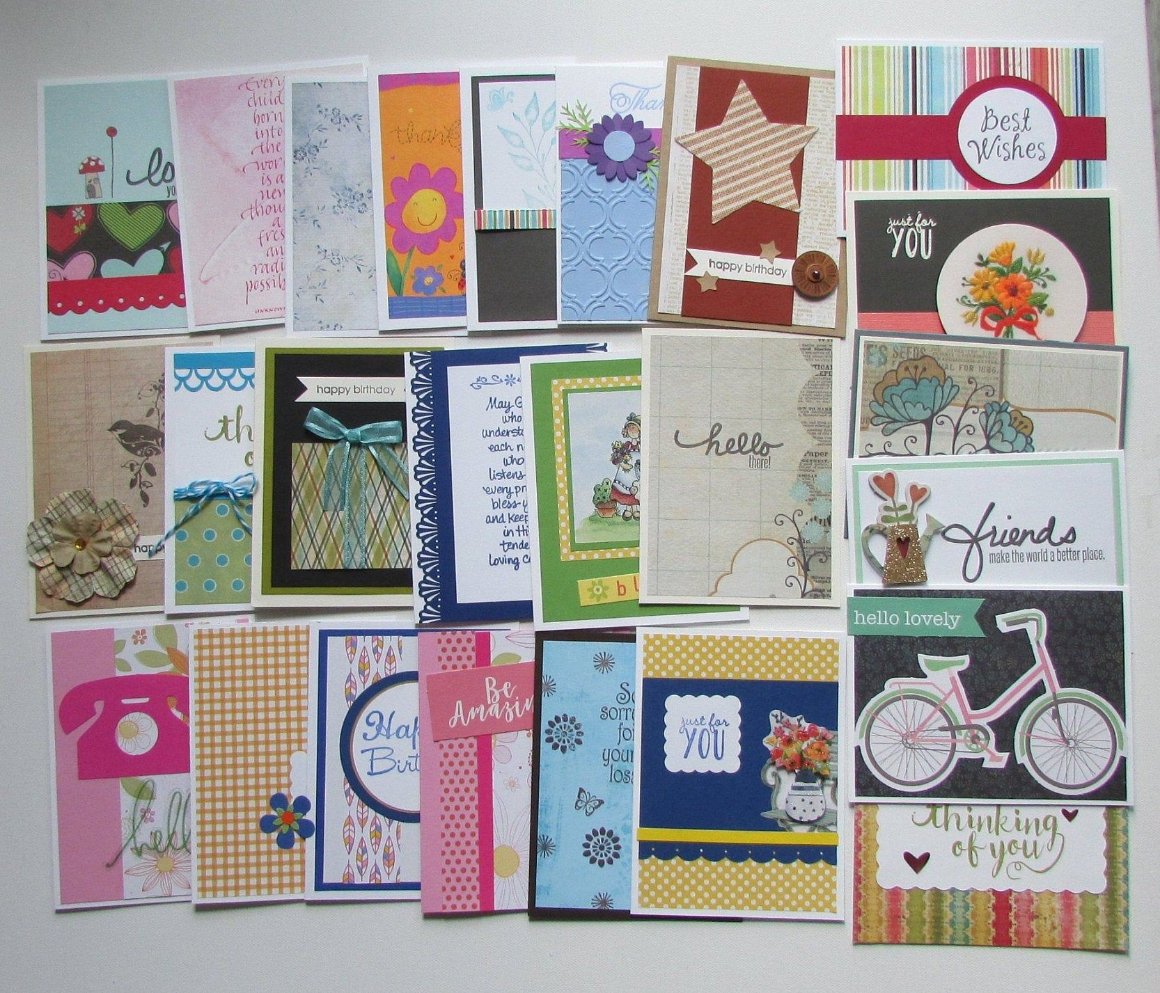 25 Handmade Cards Assorted Greeting Cards Bulk Cards Variety Card Sets Birthday Cards Thank You Cards Pretty Cards Love Cards Homemade Cards Assorted Greeting Cards Cards Handmade Pretty Cards