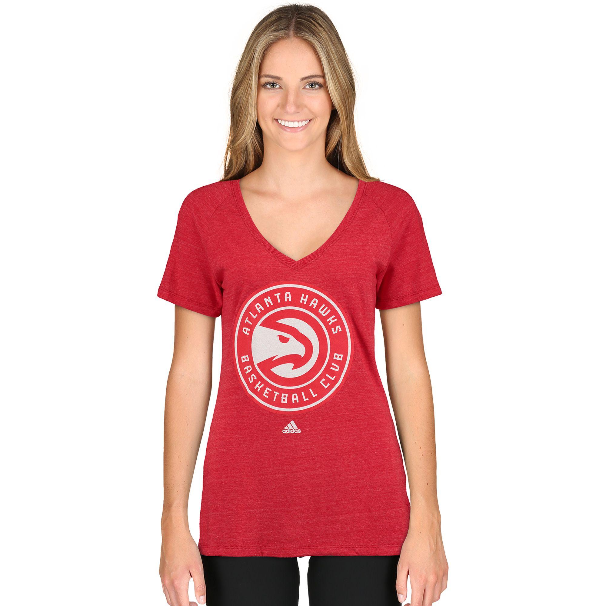 NBA Atlanta Hawks adidas Women's Primary Logo Tri-Blend V-Neck T-Shirt