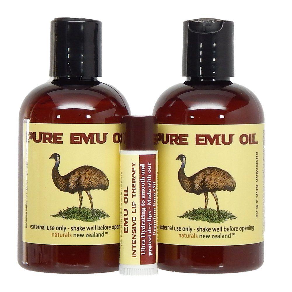 Emu oil premium golden set of two 4 oz bottles and lip