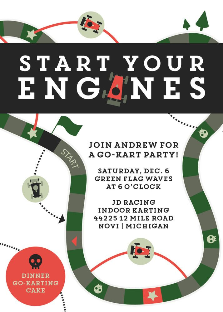 Go Kart/Racing Party Invitation | Themed parties, Water bottle ...