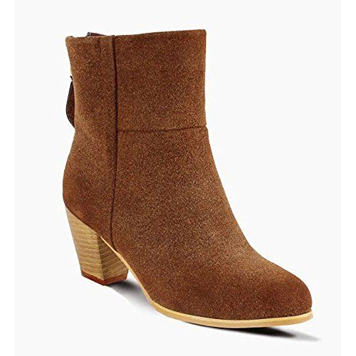 Miim Tory-05 Women's Clean Faux Suede Back Zipper Stacked Bootie Shoes, Color:BROWN, Size:8.5