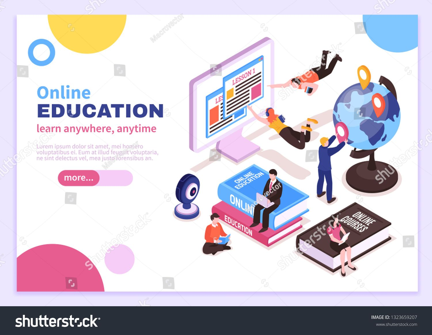 Online Education Isometric Poster With Tutorials Advertising Distance Courses And Slogan Learn A Online Education Free Online Education Education Poster Design