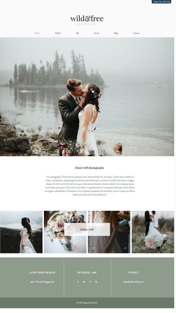 Wix Wedding Photographer Theme By Happy In The Sun Studio On Creativemarket Photography Website Design Photographer Website Design Wedding Website Design