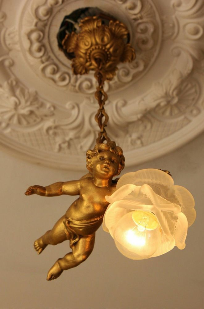 Vintage French Chandelier Fixture Sconces Angel Cherub Antique Shabby  Pendant - Vintage French Chandelier Fixture Sconces Angel Cherub Antique