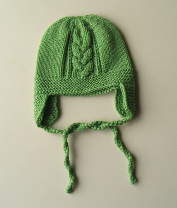 f09a5914a59 Green knit bonnet for baby. Merino wool earflap hat baby   toddler. Pilot  hat