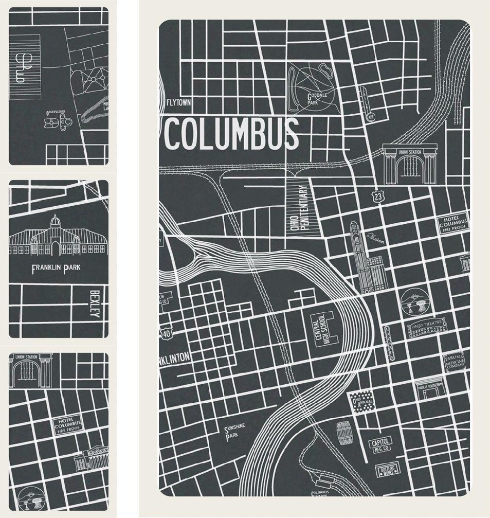 columbus ohio 1937 map Apartment B Window Shades Pinterest