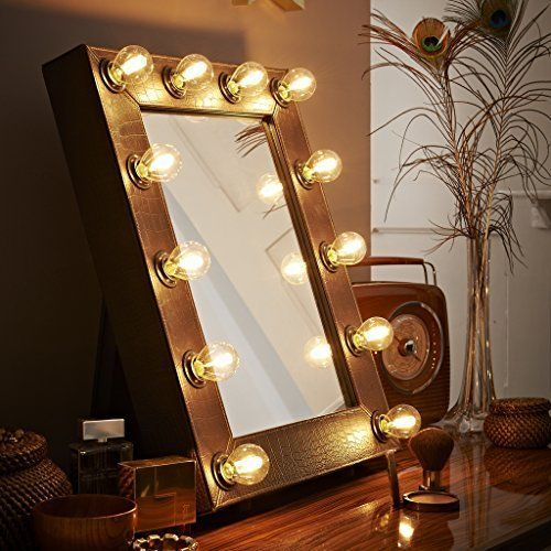 The Broadway Faux Crocodile Brown Illuminated Hollywood Theatre Make Up  Mirror Light Dressing Room Table Top