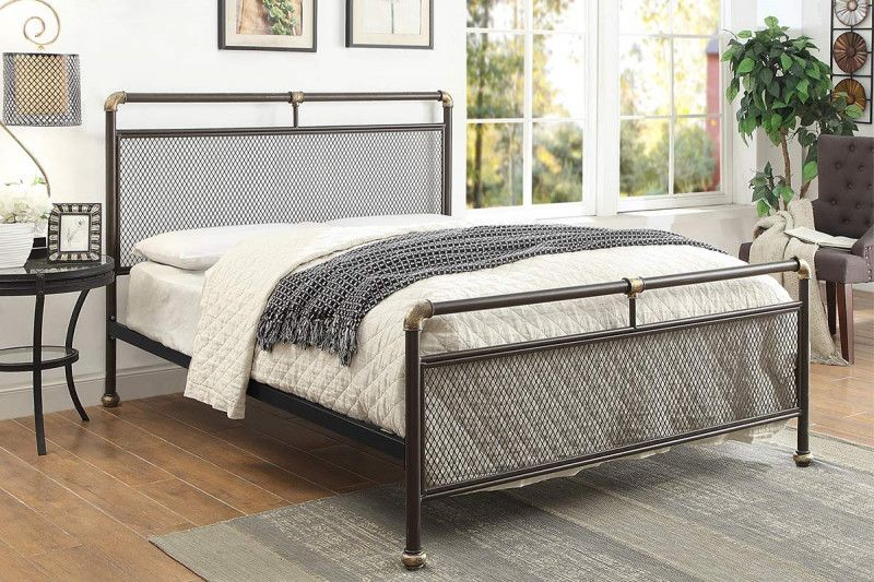 Cambridge Industrial Scaffold Rustic Brown Metal Bed Frame