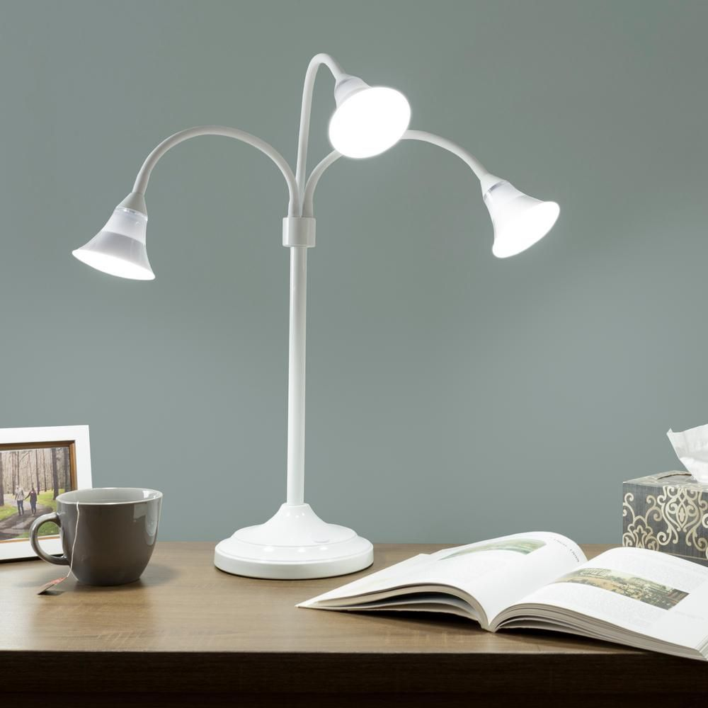 Lavish Home 30 5 In White 3 Headed Desk Lamp With Adjustable Arms M100023 Desk Lamp Table Lamp Sets Lamp Bases