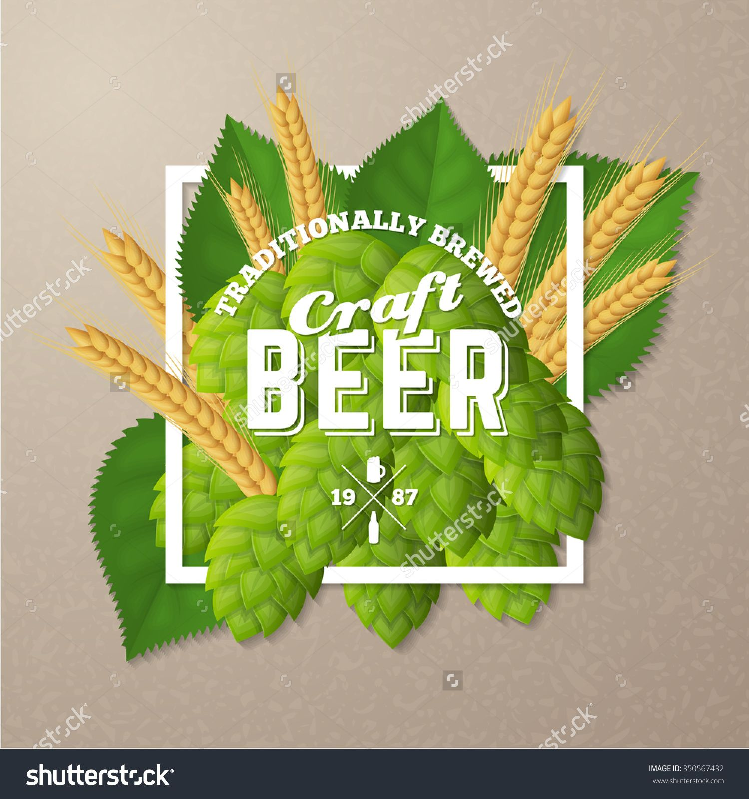 Hops For Decoration Vector Craft Beer Logo On A Hops Background Retro Poster With