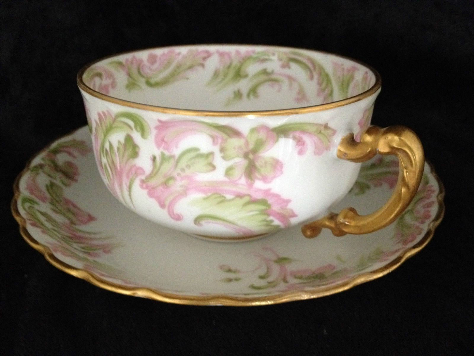 Amazing Haviland Limoges France Tea Cup U0026 Saucer Pink/Green Clover U0026 Scrolls Nice Design