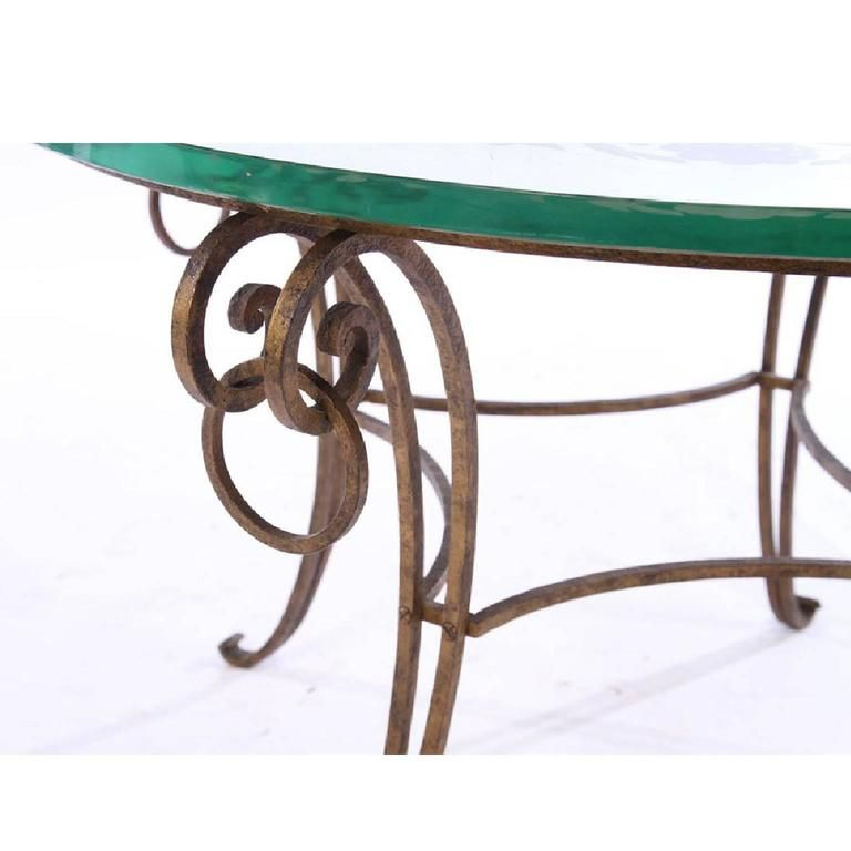 Exceptionnel French Mirrored Coffee Table, Style Of Rene Drouet With Wrought Iron Base