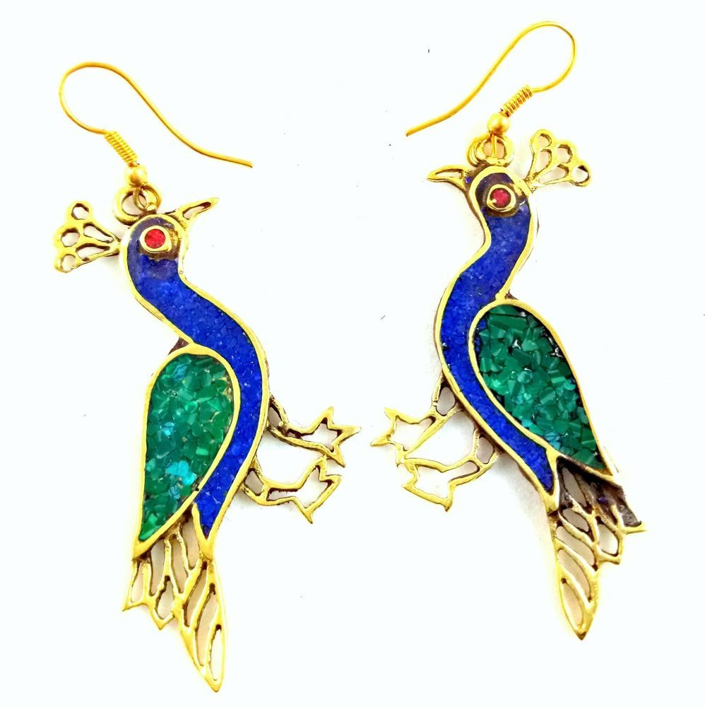Handmade brass turquoise coral designer nepali tribal jewelry dangle