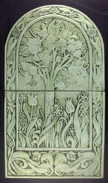 Ceramic tile mural in celydon adapted from a william for Art nouveau tile mural