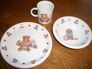 Teddy Bear Dish Sets Pottery China China Dinnerware Children S Dishes Porcelain Baby Dish Sets Baby Dishes Childrens Dishes