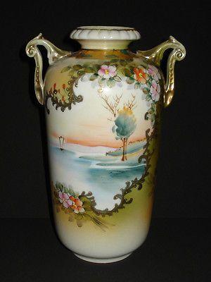 Antique Nippon Porcelain Vase Urn Hand Painted Gold Floral Scenic