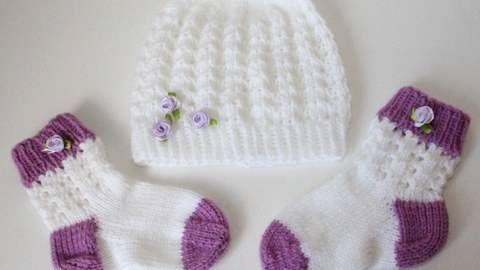 Baby-Set, Mütze und Söckchen Ajourmuster, ca. 6 - 12 Monate ...