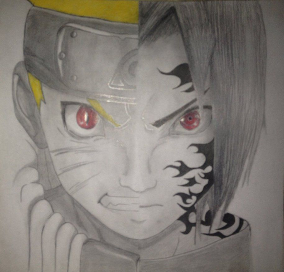 Naruto Sasuke Half Face By Zeenzor Deviantart Com On Deviantart