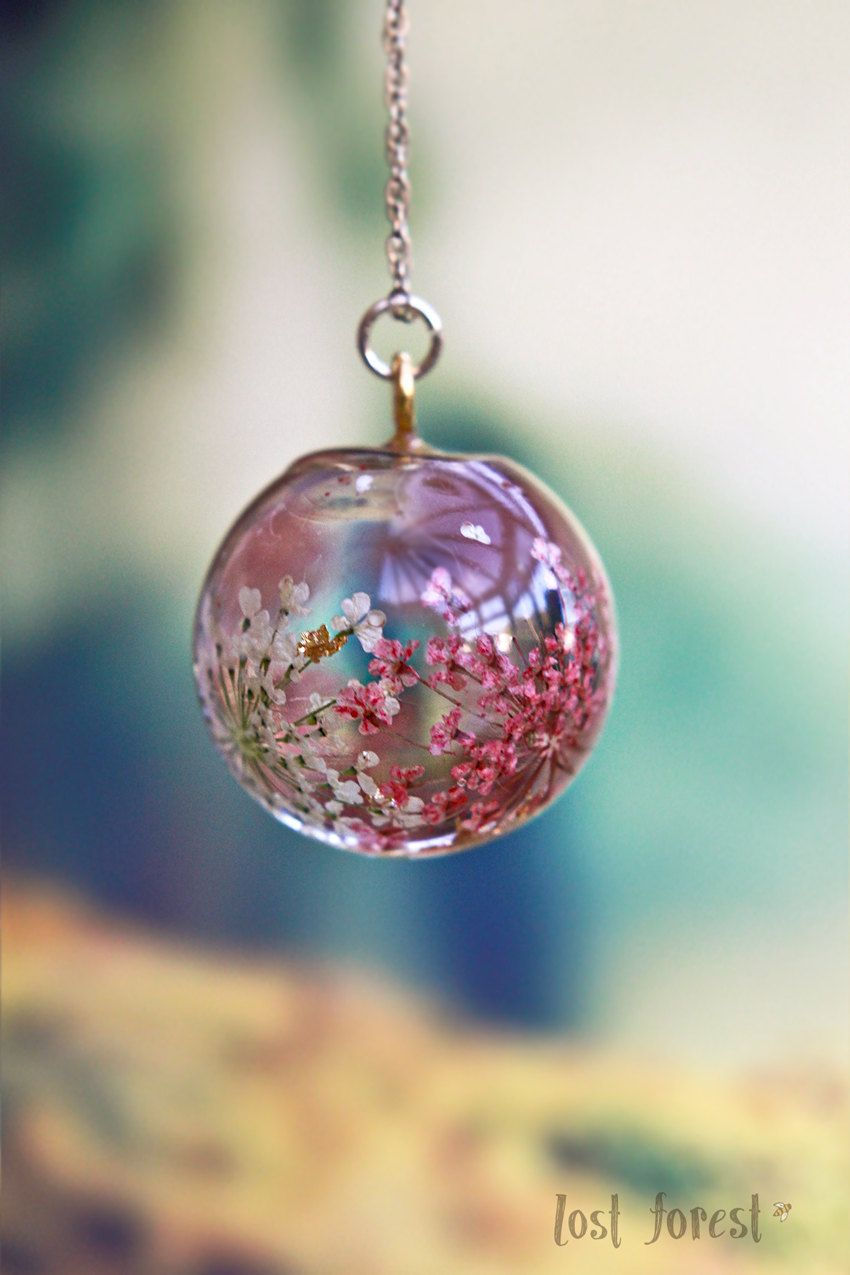 Botanical Jewelry - Wedding Gift - Romantic Gift - Bridemaid Gift - Real Flowers - Globe Necklace - Crystal Ball Pendant - Gift For Her by LostForestJewellery on Etsy