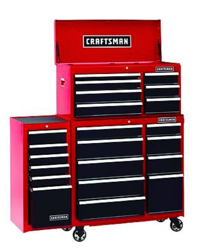40in Toolbox Heavy Duty Drawers Black And Red