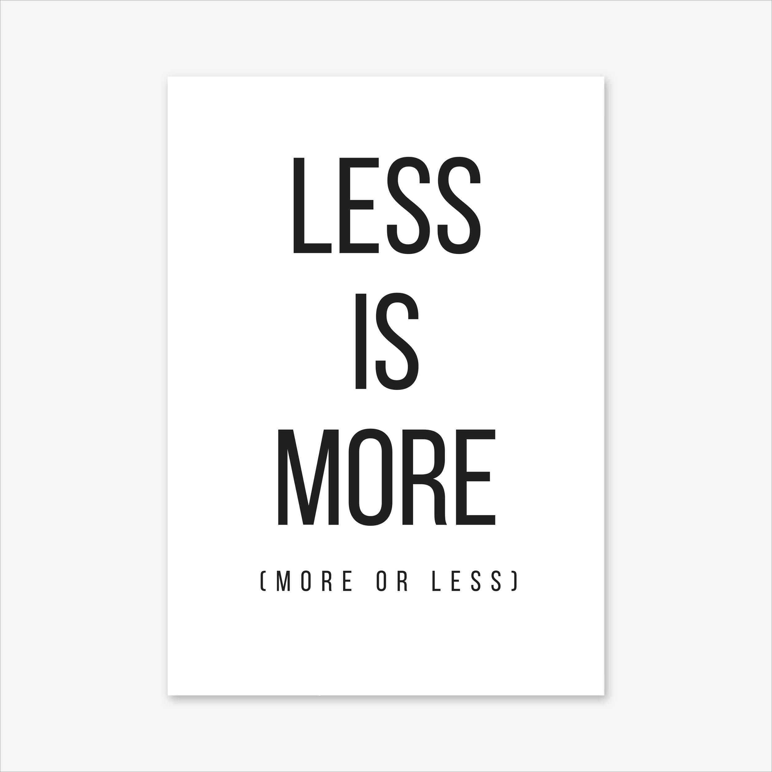 Less Is More Poster Quote Prints Office Decor Motivational Typography Print Wall Art Inspirational Signs