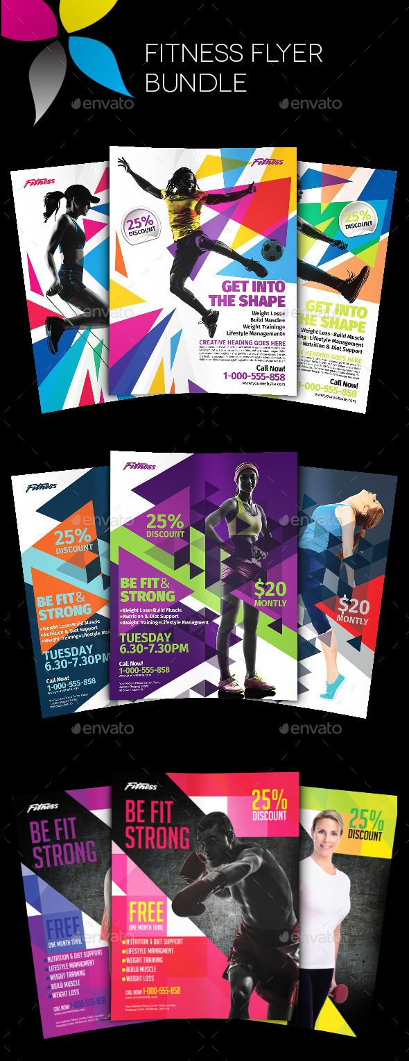 Fitness Flyer Bundle  Flyer Template Adobe Photoshop And Adobe