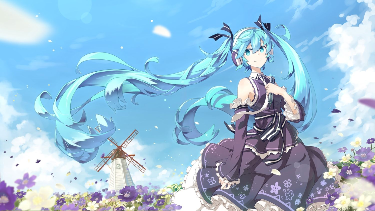 aqua eyes aqua hair flowers hatsune miku headphones lf