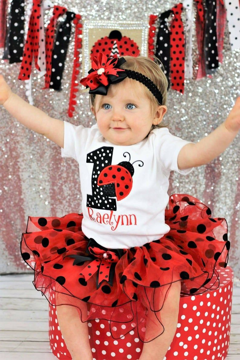 ladybug birthday outfit, first birthday outfit girl personalized , Red and black cake smash outfit girl, baby girl 1st birthday outfit