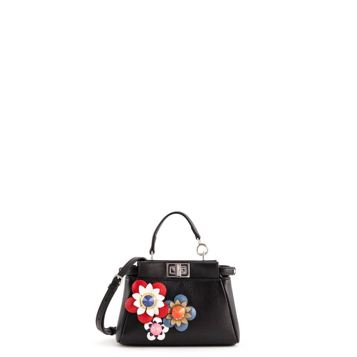 59f6d709fbe5 Fendi Black Nappa Micro Peekaboo with Floral Applique - LOVEthatBAG - Preloved  Authentic Designer Handbags -