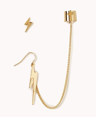 Lightning Bolt Earrings W Earcuff Forever 21 1061853041