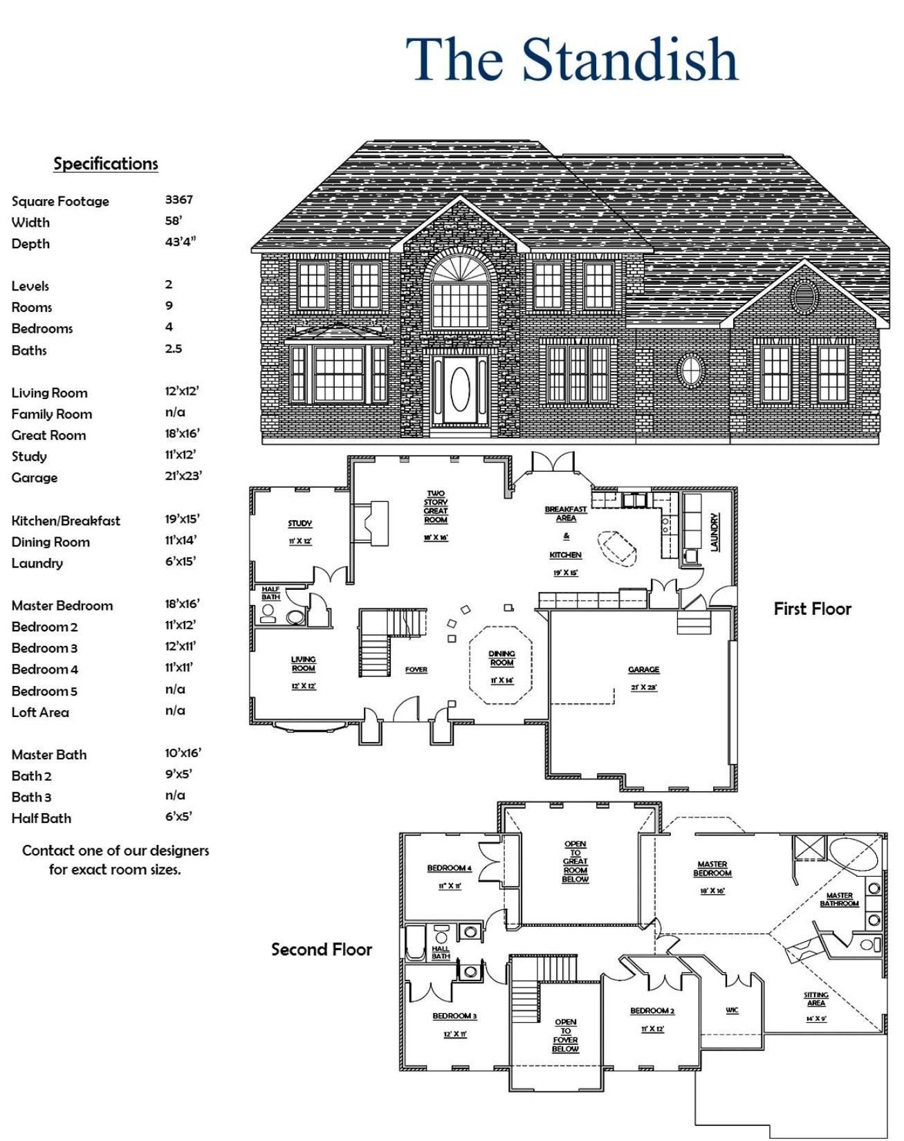 Two Story 4  Bedroom  2 5  Bath  House  floor plans