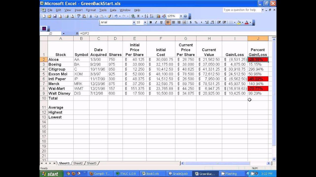 Microsoft Excel Setting Up Stocks Spreadsheet Excel Templates Stock Analysis Spreadsheet Template